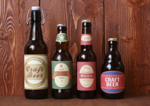 Craft beers in different bottles.
